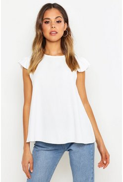 Ivory Woven Ruffle Shell Top