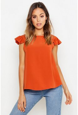 Rust orange Woven Ruffle Shell Top