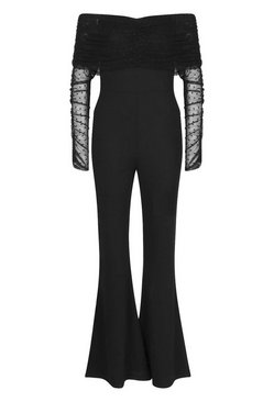 Black Dobby Mesh Rouched Jumpsuit