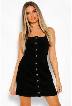 Black Button Through Cord Dress