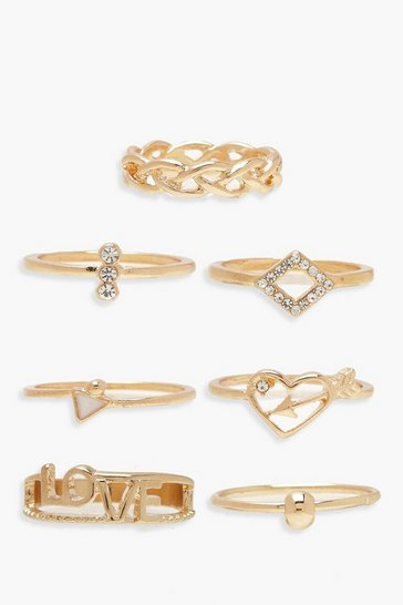 Gold metallic LOVE Stack Ring Pack