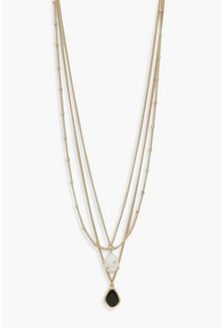 Gold metallic Pearl And Enamel Pendant Layered Necklace