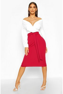 Berry red Contrast Off Shoulder Wrap Midi Dress