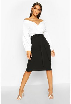 Black Contrast Off Shoulder Wrap Midi Dress