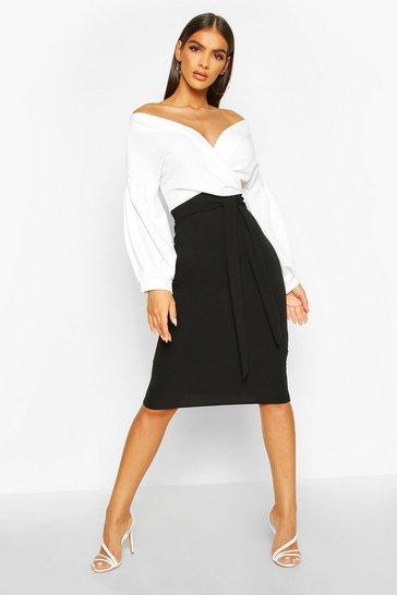 Black Contrast Off Shoulder Wrap Midi Dress