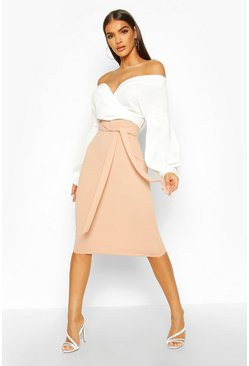Contrast Off Shoulder Wrap Midi Dress, Stone beige