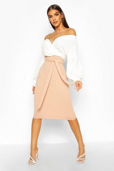 Stone beige Contrast Off Shoulder Wrap Midi Dress