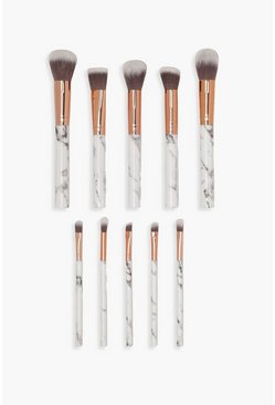 White 10 Piece Rose Gold Marble Make Up Brush Set