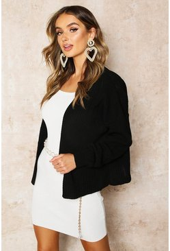 Black Rib Cropped Cardigan