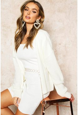 Ecru white Rib Cropped Cardigan