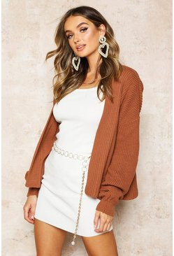 Toffee beige Rib Cropped Cardigan