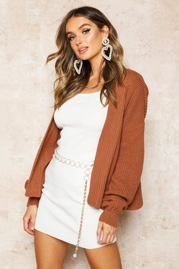 Toffee Oversized Rib Cropped Cardigan