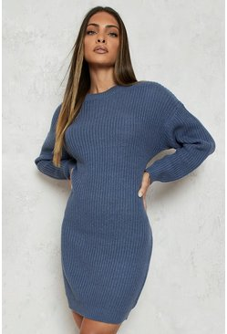 Slate blue blue Crew Neck Jumper Dress