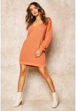 Apricot nude V Neck Jumper Mini Dress