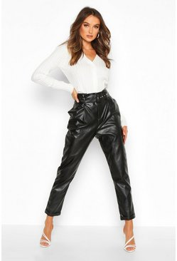 Black Leather Look Belted Tapered Trouser