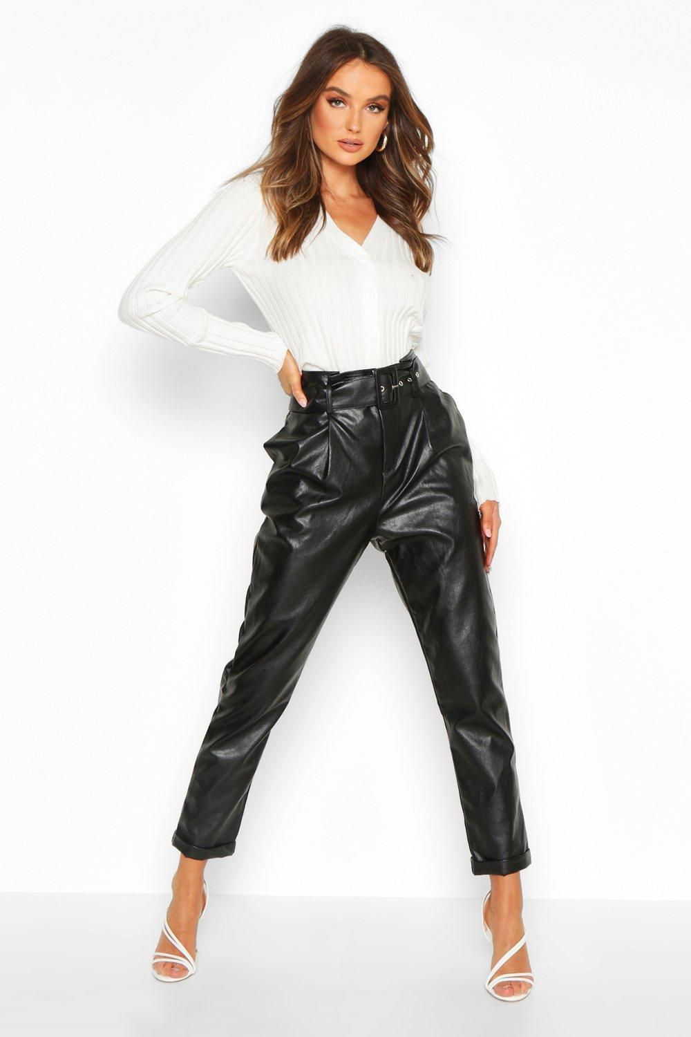 Trousers Leather Look Belted Tapered Trouser