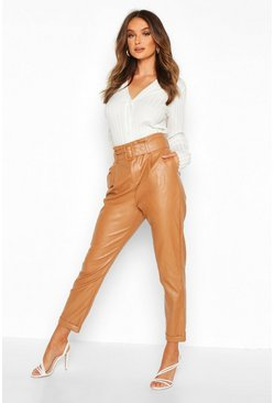 Sand beige Faux Leather Belted Tapered Pants