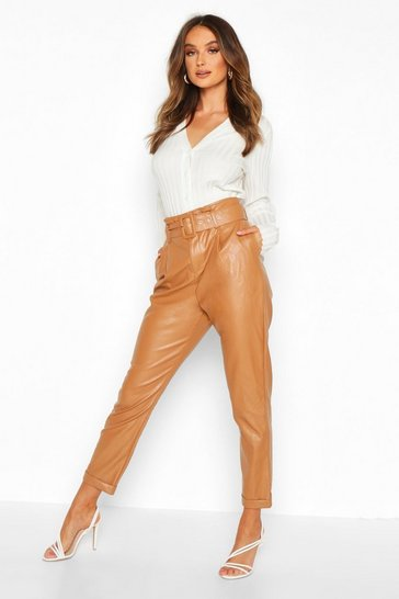 Sand beige Leather Look Belted Tapered Trouser