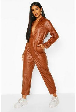 Chocolate brown Leather Look Pocket Detail Boiler Suit