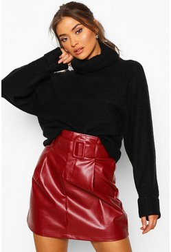 Berry red Leather Look Belted Mini Skirt