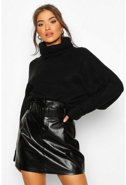Black Leather Look Belted Mini Skirt