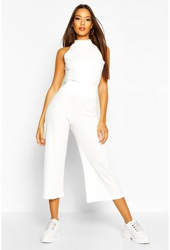 Ecru white Soft Rib Racer Back Top & Culotte Co-Ord