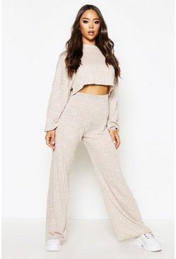 Stone beige Oversized Slouch Crop Top&Wide Trouser Coord Set