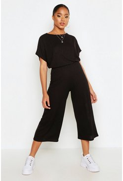 Black Rib Slouchy Top & Culotte Co-Ord Set