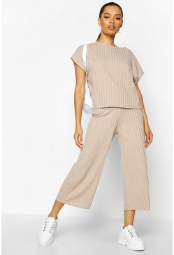 Stone beige Rib Slouchy Top & Culotte Two-Piece Set