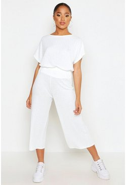 White Rib Slouchy Top & Culotte Two-Piece Set