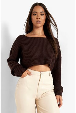 Chocolate brown V-Back Crop Jumper