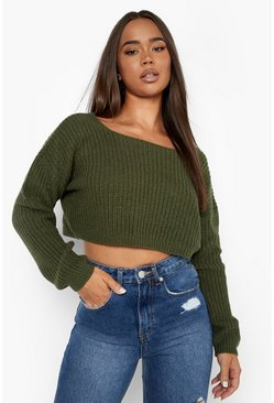 Olive green V-Back Crop Sweater