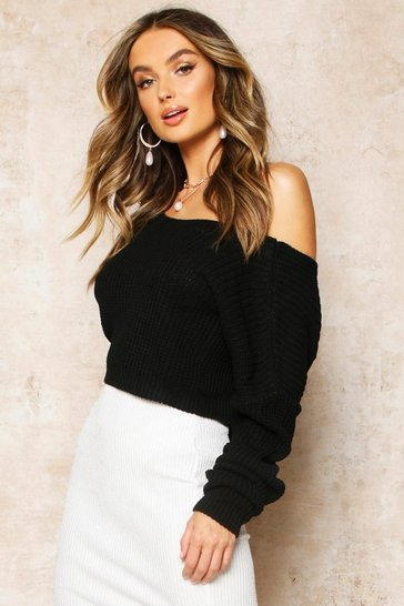 Black V-Back Crop Jumper