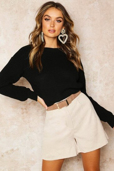 Black Crop Fisherman Jumper