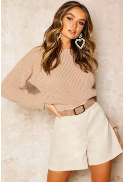 Stone beige Crop Fisherman Jumper