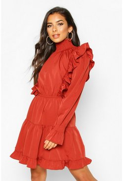 Rust Shirred High Neck Ruffle Midi Skater Dress