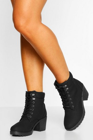 Black Wide Fit Lace Up Heeled Hiker Boots