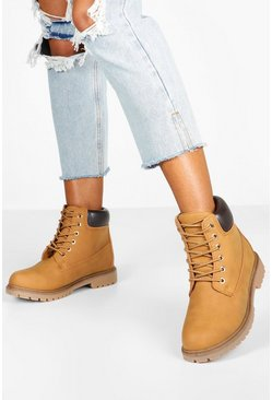 Tan brown Wide Fit Chunky Hiker Boots