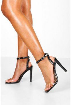 Black Wide Fit Square Toe Barely There Heels