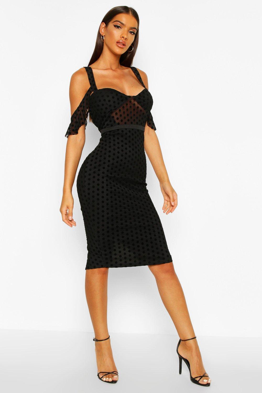 DRESSES Velvet Spot Cupped Midi Dress
