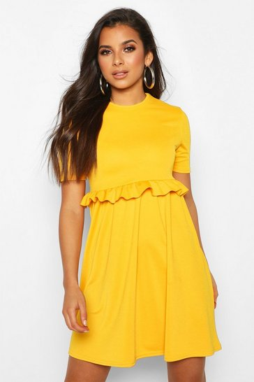 Mustard yellow Ruffle Front Smock Dress