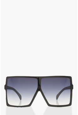 Black Oversized Square Smoke Lens Sunglasses