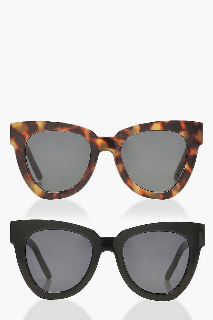 Lot de 2 paires de lunettes de soleil oversize à monture épaisse | boohoo