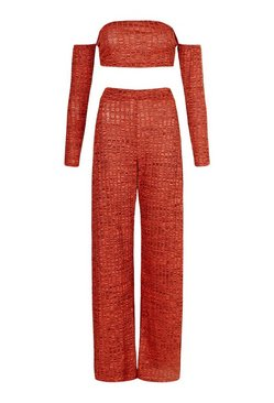 Terracotta Bardot Ribbed Top & Wide Leg Trouser Co-Ord