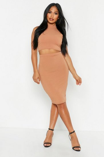 Camel Rib High Neck Top & Midi Skirt Co-ord Set