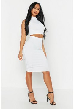 Ecru Rib High Neck Top & Midi Skirt Two-Piece Set