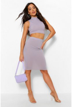 Grey Rib High Neck Top and Midi Skirt Co-ord Set