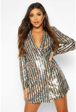 Black Stripe Sequin Blazer Dress