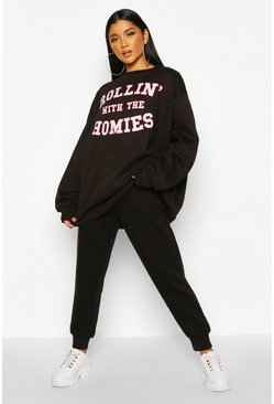 Black Rolling With The Homies Slogan Oversized Sweatshirt