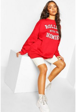 Red Oversized 'Rolling Met The Homies' Sweater Met Tekst